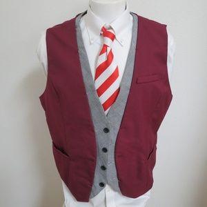3XL Maroon Red/Gray Slim Fit Mens #278T Suit Vest